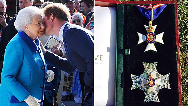 Prinz Harry wurde von seiner Oma zum Ritter geschlagen. (Bild: APA/EPA/STUART C. WILSON, twitter.com/kensingtonroyal)