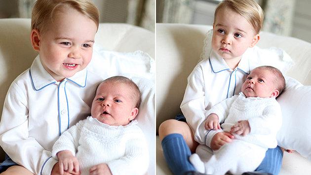 Prinz George mit seiner Schwester Charlotte (Bild: AP)