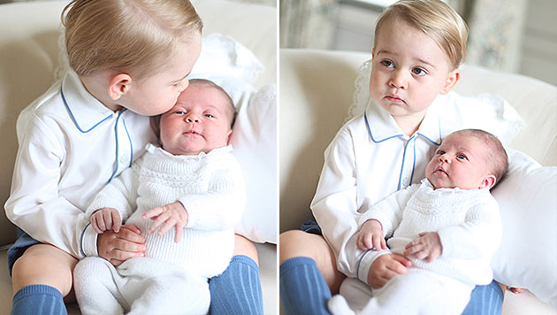 Prinz George mit seiner Schwester Charlotte (Bild: APA/EPA/DUCHESS OF CAMBRIDGE, AP)