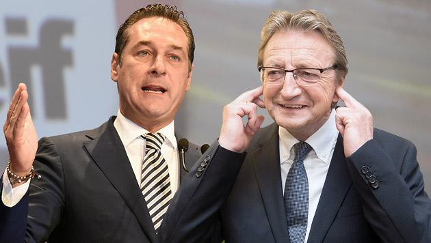 Sbg: FP-Chef Schnell (re.) wollte nicht zum Rapport, also schloss Strache ihn aus der Partei aus. (Bild: APA/HERBERT P. OCZERET, APA/NEUMAYR/MMV)
