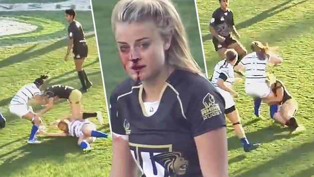 """""""Kriegsgöttin des Rugby"""" wird zum Internet-Star (Bild: YouTube.com)"""