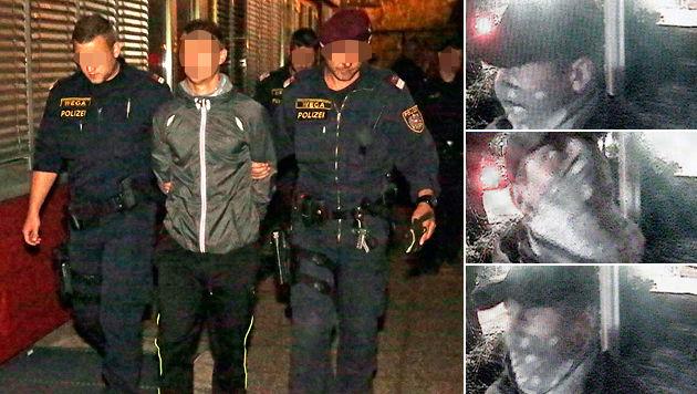 Der Verdächtige bei seiner Verhaftung und auf den Bildern der Überwachungskamera (Bild: Klemens Groh)