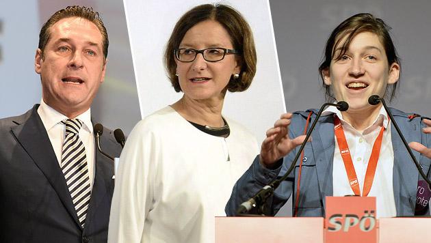 FPÖ-Obmann Strache, Innenministerin Mikl-Leitner, SJ-Chefin Herr (Bild: APA)