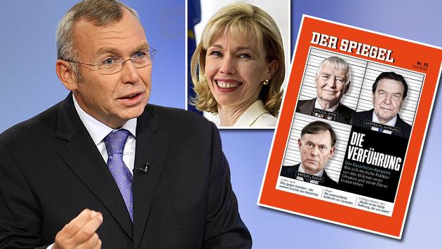 """Ex-Kanzler Gusenbauer, Doris Schröder-Köpf und die """"Spiegel""""-Titelseite (Bild: EPA, SPIEGEL, dpa/dpaweb/Zentralbild/Ralf Hirschberger)"""