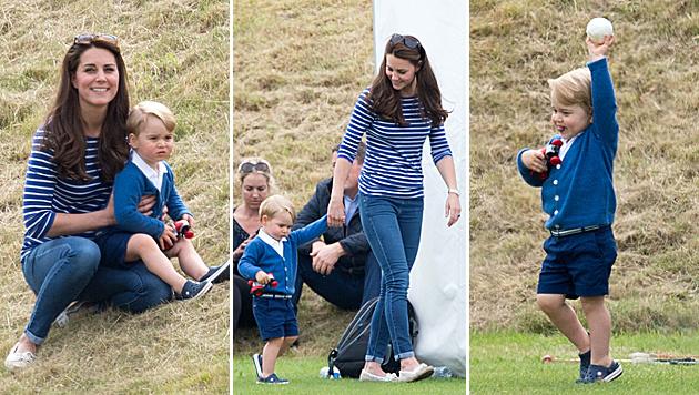 Prinz George hält Mama Kate beim Polo ordentlich auf Trab. (Bild: Viennareport)