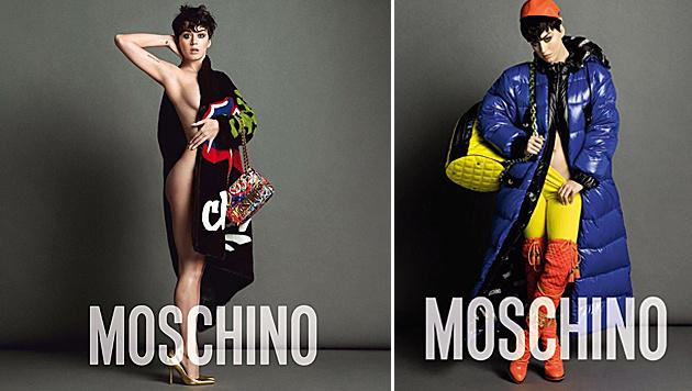 Katy Perry zeigt sich halb nackt für Moschino. (Bild: Viennareport)