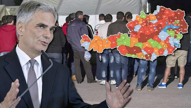 """Fünf-Punkte-Plan soll Asylwerber fair verteilen (Bild: APA/WERNER KERSCHBAUMMAYR, APA/HERBERT NEUBAUER, """"Krone"""")"""