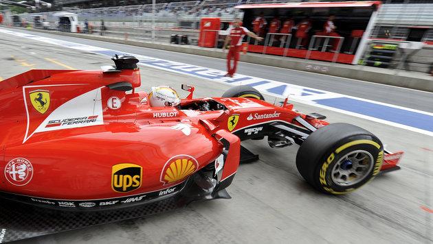 """""""Super-Seb"""" Vettel krallt sich im Ferrari Bestzeit (Bild: APA/HERBERT NEUBAUER)"""