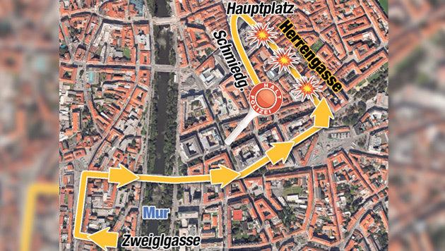 """Quer durch die Grazer Innenstadt verlief die Route des Amokfahrers. (Bild: """"Krone""""-Grafik)"""