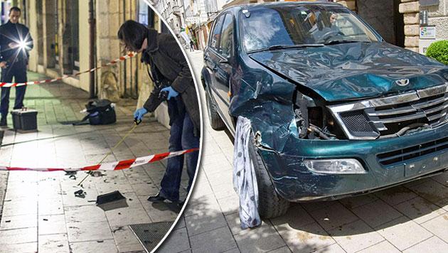 Spurensuche in Dijon (links); das Auto des Amokfahrers von Graz (Bild: AFP,  APA/ELMAR GUBISCH)