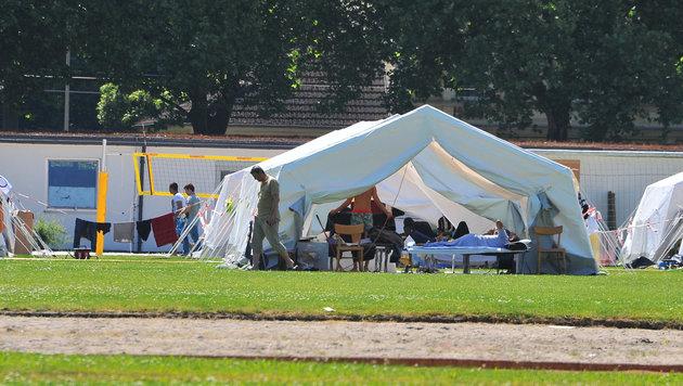 Bis Ende Juli müssen die Zelte bei der Polizei in Linz abgebaut werden. (Bild: Horst Einöder)