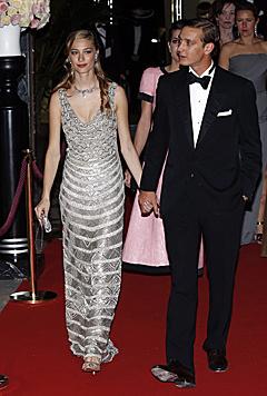 Pierre Casiraghi und seine Beatrice beim heurigen Rosenball in Monaco (Bild: EPA)