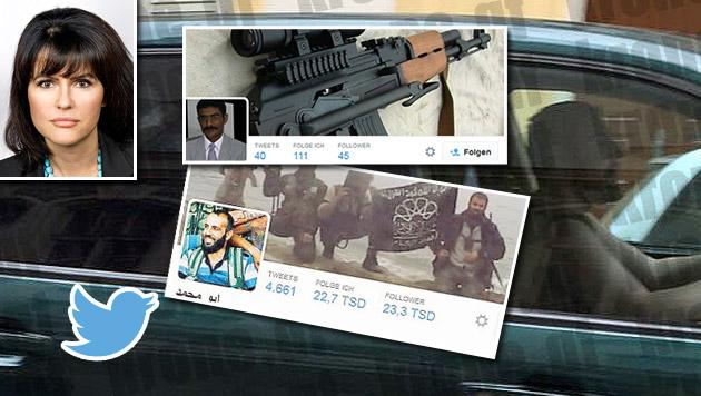 """Im Bild links oben die Anwältin von Alen R., Liane Hirschbrich; Mitte: Twitterkontakte des Täters (Bild: twitter.com, Foto Wilke, """"Krone"""")"""