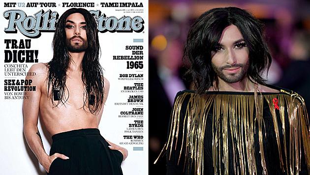"""Oben ohne und ganz lässig zeigt sich Conchita Wurst auf dem aktuellen Cover des """"Rolling Stone"""". (Bild: Rolling Stone, APA/EPA/HERBERT NEUBAUER)"""