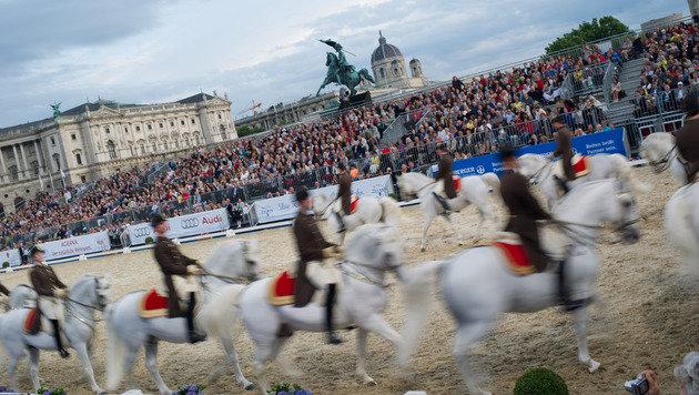 Gala auf dem Heldenplatz: Die Hofreitschule feiert (Bild: APA/EXPA/MICHAEL GRUBER)
