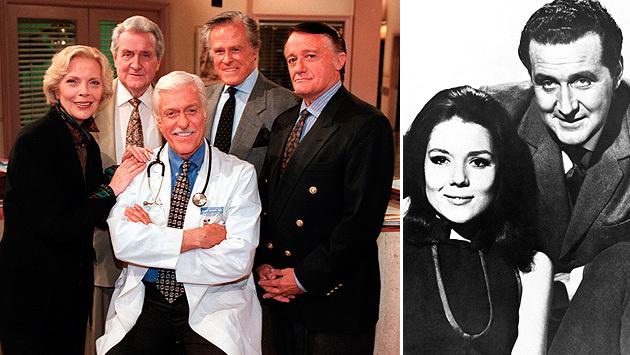 """Macnee (links hinten) als Gaststar in der US-Serie """"Diagnose Mord"""", sowie mit Diana Rigg. (Bild: Viennareport)"""