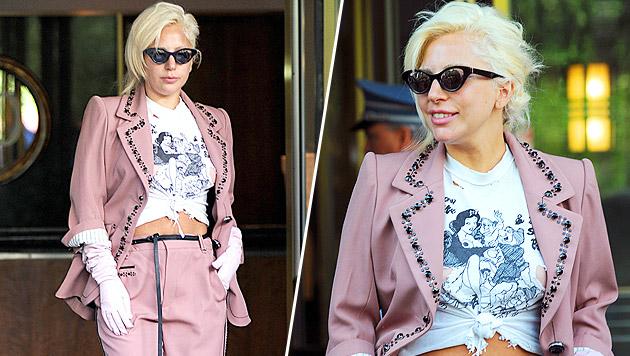 Lady Gaga provoziert mit obszönem T-Shirt. (Bild: Bullspress)
