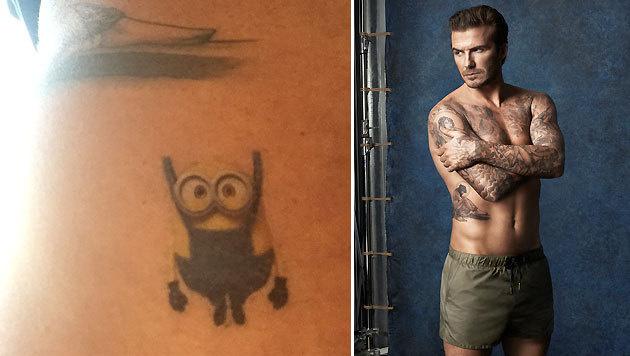 """David Beckham hat für seine Töchterchen Harper ein """"Minion""""-Klebetattoo am Arm. (Bild: Viennareport)"""