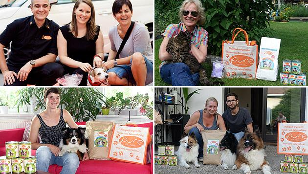 Glückliche Gewinner bei der Übergabe der Preise von Pure Naturfutter (Bild: Doris Hölzel Photograph, Didi Eismayr)
