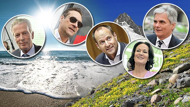 Wo unsere Spitzenpolitiker ihren Urlaub verbringen (Bild: APA, EPA, thinkstockphotos.de)