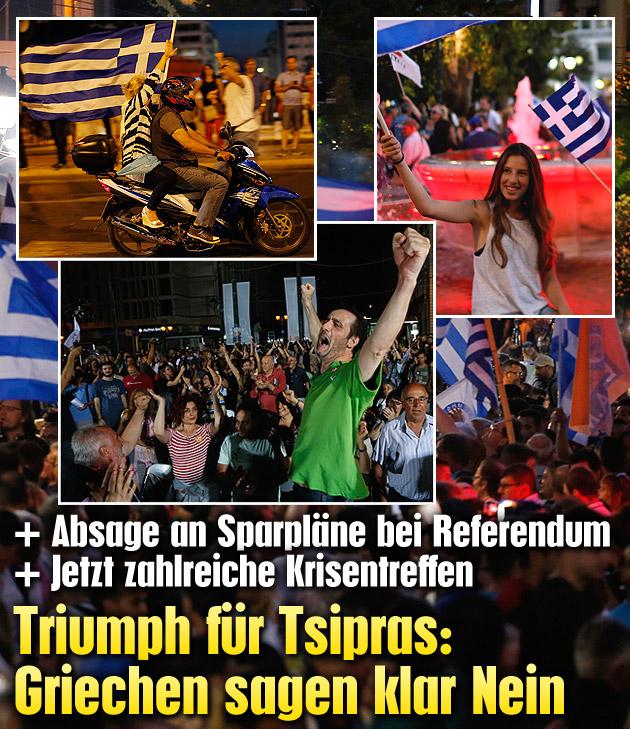 Triumph f�r Tsipras: Griechen sagen klar Nein (Bild: AP, APA/EPA/ARMANDO BABANI)