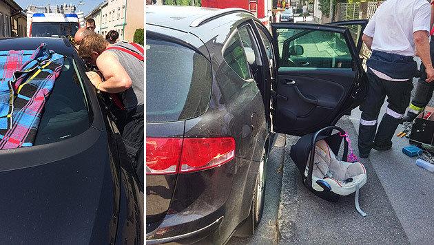 Den Helfern gelang es, das Auto zu öffnen. Die Mutter konnte Lena wieder in die Arme schließen. (Bild: APA/FF ST. PÖLTEN-WAGRAM)