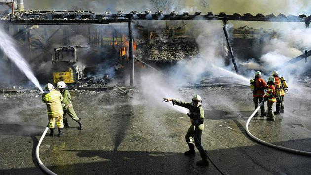 OÖ: Großeinsatz bei Brand in Holzbaufirma (Bild: APA/MANFRED FESL)