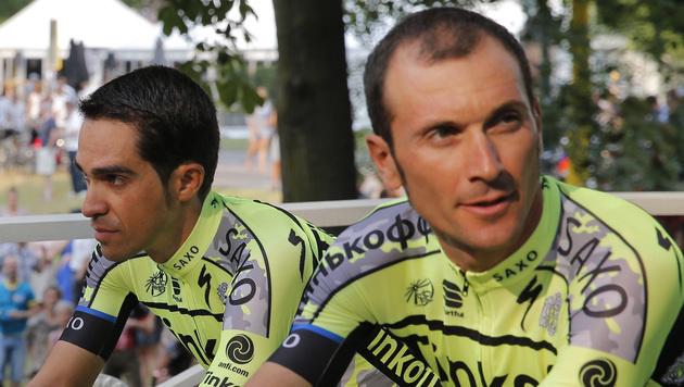 Ivan Basso (re.) mit seinem Teamkollegen Alberto Contador (Bild: AP)
