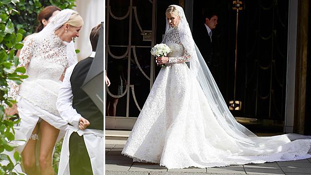 Ups! Nicky Hilton ließ bei der Hochzeit ihr Höschen blitzen. (Bild: Viennareport)