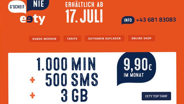 """Neuer Mobilfunker """"eety"""" heizt den Preiskampf an (Bild: eety.at)"""