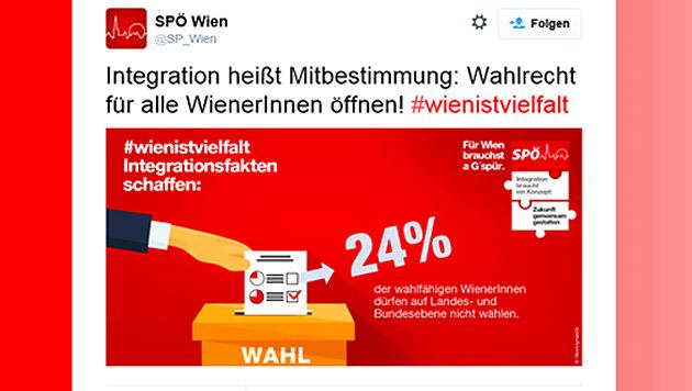SPÖ nimmt neuen Anlauf für Ausländerwahlrecht (Bild: Screenshot twitter.com/SP_Wien)