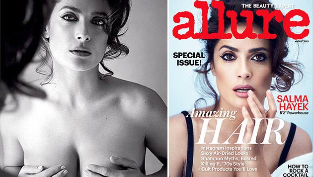 """Salma Hayek posiert oben ohne für """"Allure""""-Magazin (Bild: Allure, instagram.com)"""
