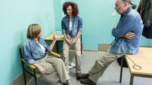 Mausi Lugner, Ingrid van Bergen und Peter Bond im Sommercamp-Knast (Bild: RTL)