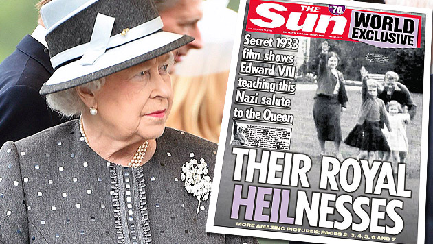 Video zeigt Queen als Kind beim Hitlergruß (Bild: APA/EPA/FABIAN BIMMER, The Sun)