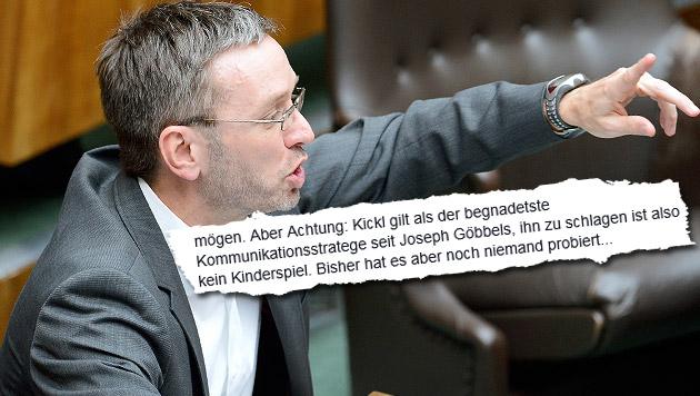Mit Goebbels verglichen: FP-Mastermind Kickl tobt (Bild: APA/ROBERT JAEGER, facebook.com)