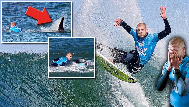 Surf-Champ rettet sich mit Faustschlägen vor Hai (Bild: APA/EPA/WORLD SURF LEAGUE)