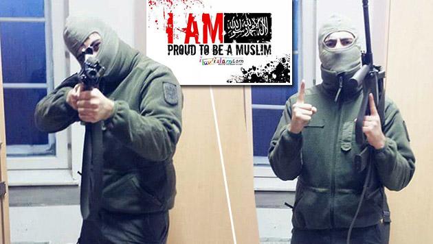 Wiener Soldat posiert mit IS-Geste und Sturmgewehr (Bild: facebook.com)
