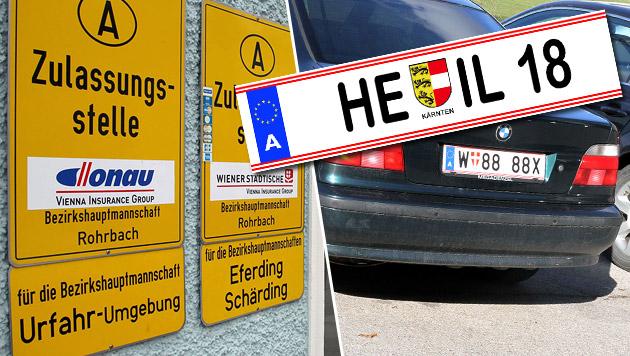 Aus für Nazi-Geheimcodes auf Autokennzeichen (Bild: Chris Koller, Andi Schiel, krone.at-Grafik)