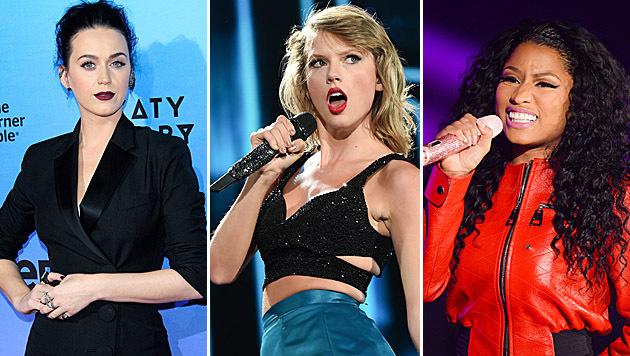 Katy Perry, Taylor Swift und Nicki Minaj liefern sich gerade einen Zickenkrieg auf Twitter. (Bild: APA/EPA/NINA PROMMER, Jordan Strauss/Scott Roth/Invision/AP,)