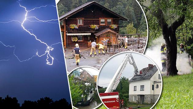 Unwetter: Mehrere Blitzopfer und schwere Schäden (Bild: dpa/Frank Rumpenhorst, APA, FF Wies, FF Ettendorf)