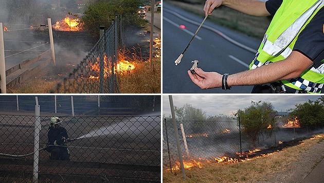 Rakete löst Flurbrand vor Mauern Traiskirchens aus (Bild: Thomas Lenger, Pressestelle BFK Baden/Stefan Schneider)