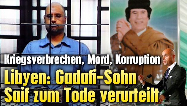Kriegsverbrechen: Gadafi-Sohn zum Tode verurteilt (Bild: SABRI ELMHEDWI/EPA/picturedesk.com)