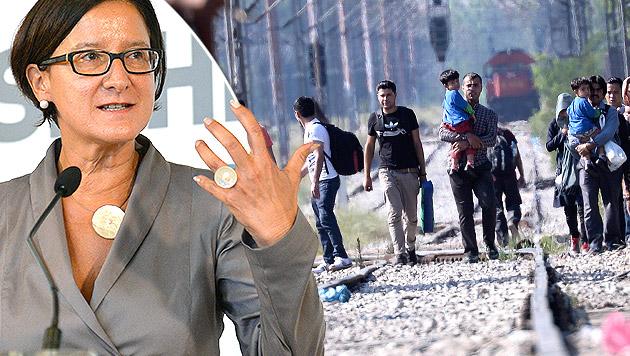 Mikl-Leitners Offensive gegen die Schleppermafia (Bild: APA/HANS PUNZ, APA/EPA/GEORGI LICOVSKI)