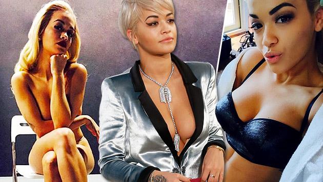 Früher hasste sie ihre Brüste - jetzt zeigt Rita Ora gern ihr  Dekolleté. (Bild: EPA/IAN LANGSDON, twitter.com, instagram.com)