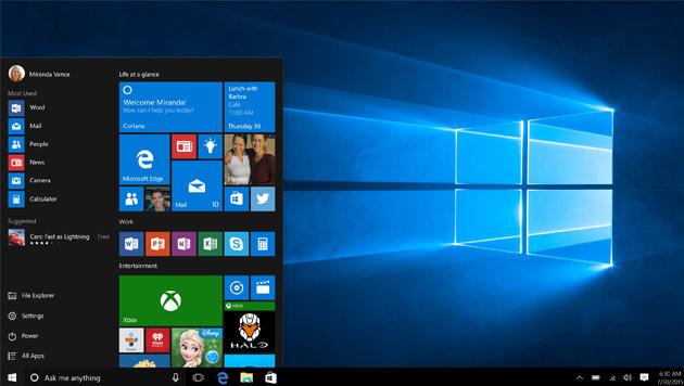 Das Startmenü von Windows 10 verheiratet das klassische Startmenü mit Windows-8-Kacheln. (Bild: Microsoft)