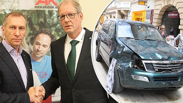 Grünes-Kreuz-Obmann Gerhard Prall (re.) und AK-Chef Josef Pesserl einigten sich. (Bild: Christian Jauschowetz)