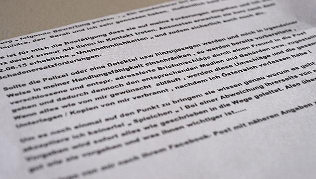 Diesen Brief ließ der Erpresser seinen Opfern zukommen. (Bild: LPD Salzburg)