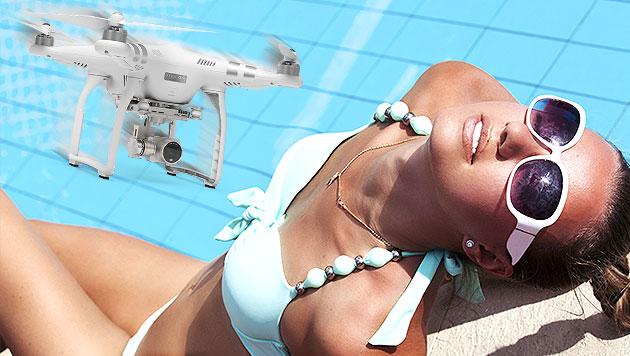 Drohne filmte spärlich bekleidete Sonnenanbeterin (Bild: thinkstockphotos.com, DJI, krone.at-Grafik)
