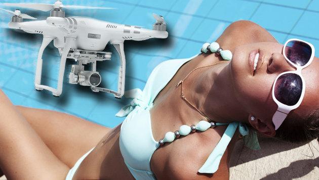 Wütender Vater schießt Spanner-Drohne vom Himmel (Bild: thinkstockphotos.com, DJI, krone.at-Grafik)