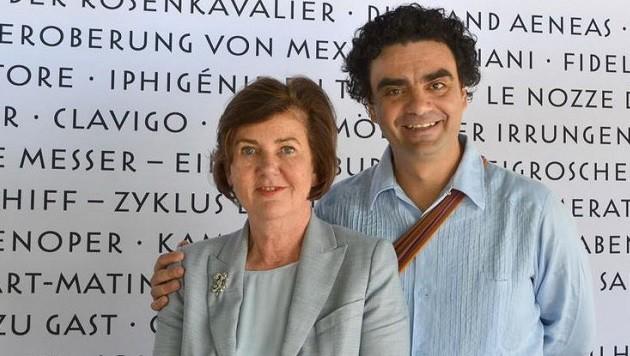 Festspielpräsidentin Helga Rabl-Stadler und der Startenor Rolando Villazón (Bild: Salzburger Festspiele)